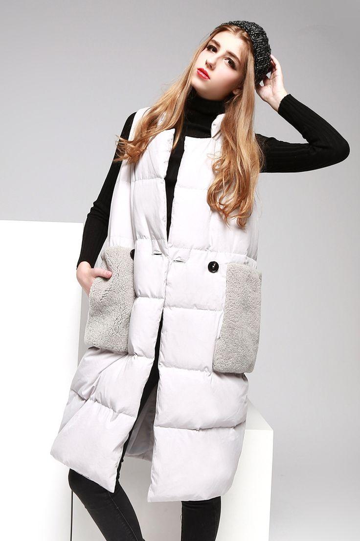 Новый зимний жилет воротник тонкие модели длинный участок Y079купить в магазине GGsDDup Clothing CO.,ltdнаAliExpress