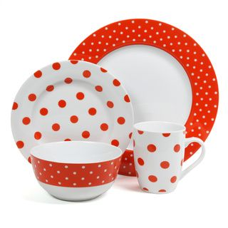 Isaac Mizrahi Dot Luxe 16-piece Orange Dinnerware Set | Overstock.com Shopping - The Best Deals on Casual Dinnerware