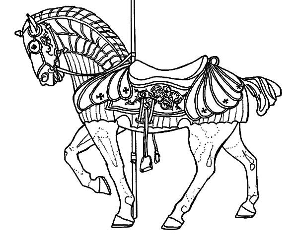 143 best color carousel animals images on pinterest for Carousel horse coloring page