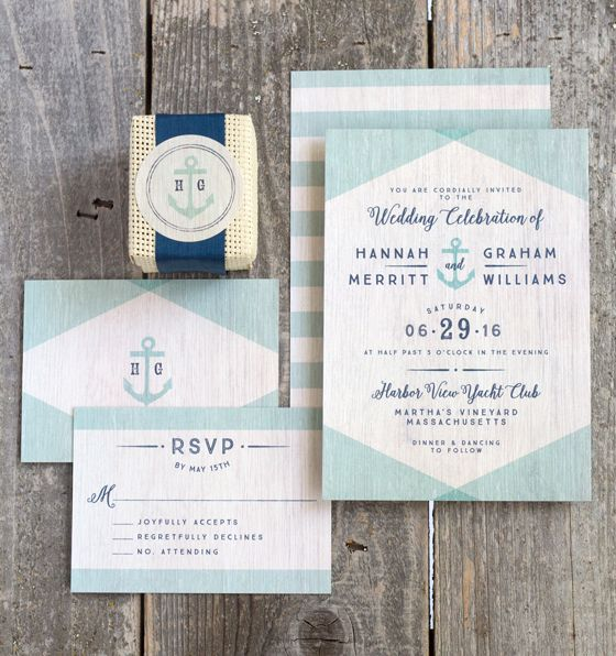 Vintage Nautical Wedding Invitations                                                                                                                                                                                 More