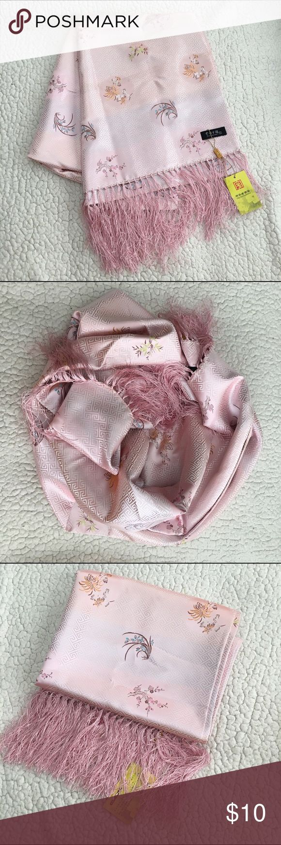 NEW Asian scarf Brand new with tags • Asian scarf with thin tassel fringe  • light pink with a shimmery feel • long and thick • floral print throughout • flaw- some dirt spots and lines from being stored in a box but can be washed out • could even double as a table runner ;) Accessories Scarves & Wraps