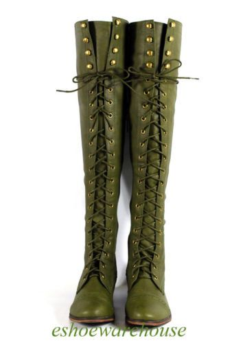 Green Leatherette Hip N Cool Urban Over The Knee Thigh High Lace Up Flat Boots | eBay