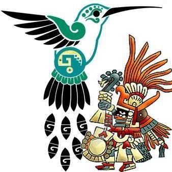 """""""Hope is like the sun, which, as we journey toward it, casts the shadow of our burden behind us.""""   ~  Samuels Smiles  Huitzilopochtli  or 'Hummingbird of the South' or 'Blue Hummingbird on the Left' was one of the most important deities in the Aztec pantheon and for the Méxica he was the supreme deity.  He was the deity of the sun and war, considered the patron of the Aztec capital Tenochtitlán and associated with gold, warriors and rulers."""