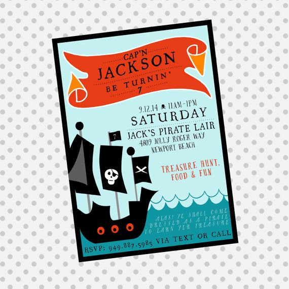 PIRATE Party Birthday Invite Pirate Party by aprettylittleparty