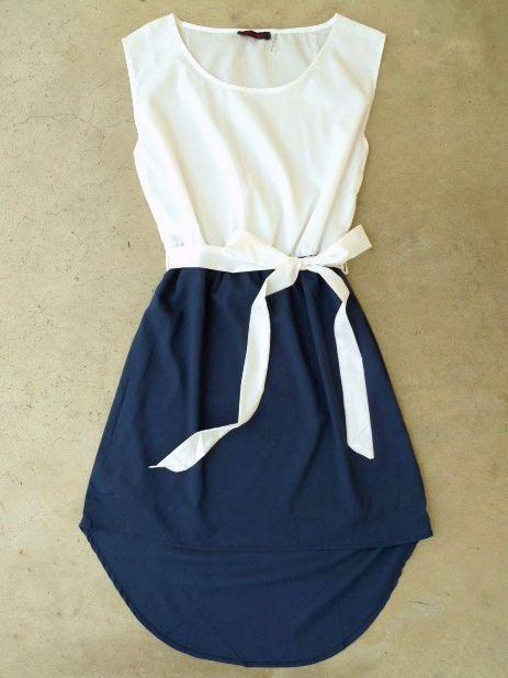 La Sallee Navy Colorblock Dress