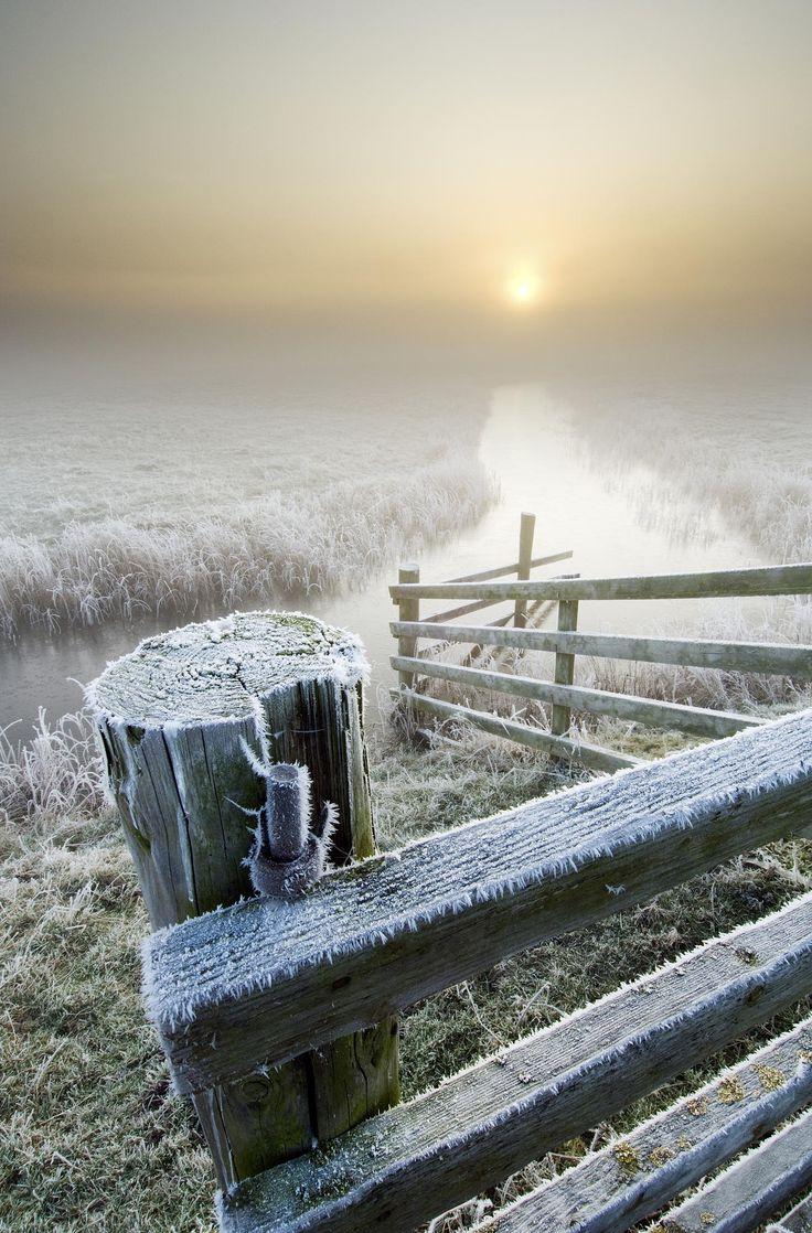 Winter sunrise on the marshes, Kent, England