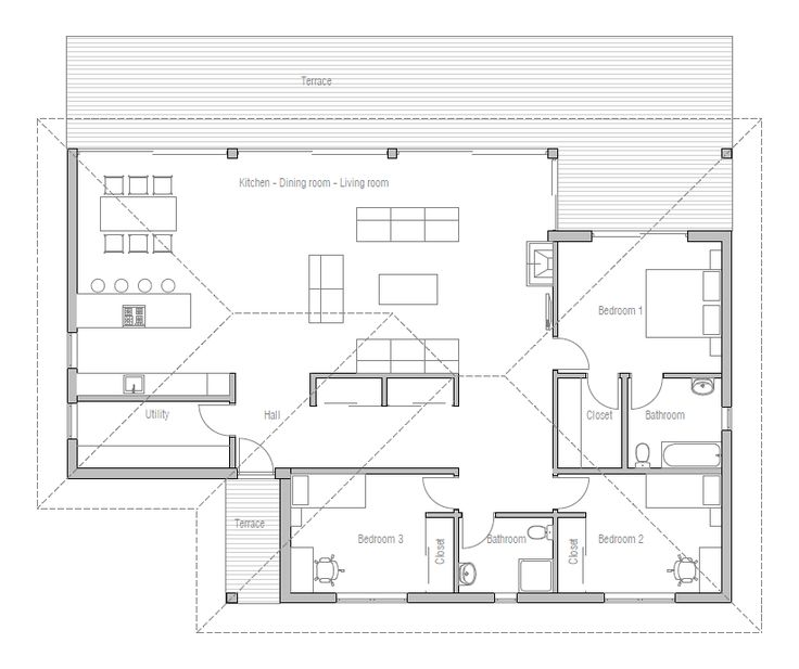 images about Small House Plan on Pinterest   Small House    Home Plan   three bedrooms  Floor Plan from eliminate hall and closets  make that area the master  the other bath could be a jack n jill bath