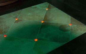 CineLighting™ LED Glass Tiles! These tiles made of glass take the capability of fiber optics so they can be easily used in wet areas. Near your pool, fountain, kitchen... Anywhere!