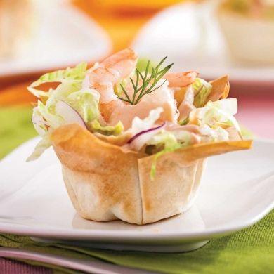 Coupelles de crevettes en salade - Entrées - Recettes 5-15 - Recettes express 5/15 - Pratico Pratiques