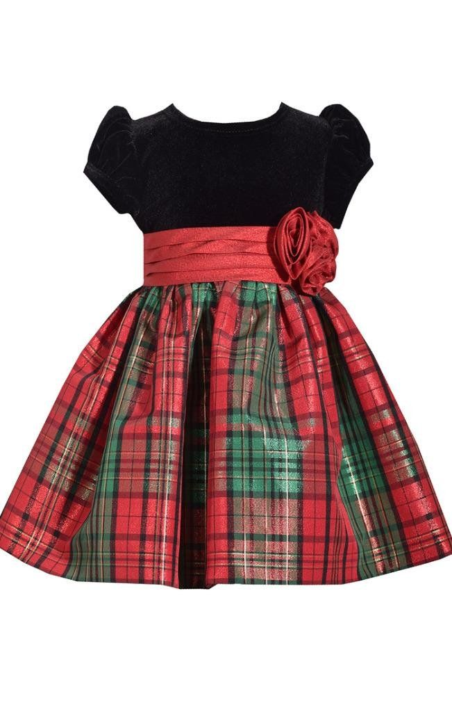 Bonnie Jean Short Sleeve Christmas Dress with Black Velvet and Red Tartan Plaid