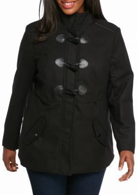 Rampage Black Plus Size Maddy Toggle Peacoat