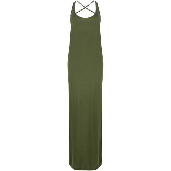 Warehouse Macrame Back Beach Dress (33 AUD) ❤ liked on Polyvore featuring dresses, green, green dress, warehouse dresses, green jersey dress, jersey maxi dress and jersey dress