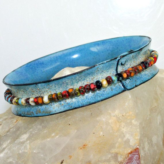 Bangle Faded Denim and Ivory Copper Enamel Czech by tekaandzoe, $46.00