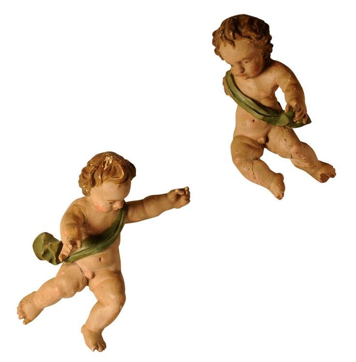 Pair of early 18th century polychromed Putti, Spanish