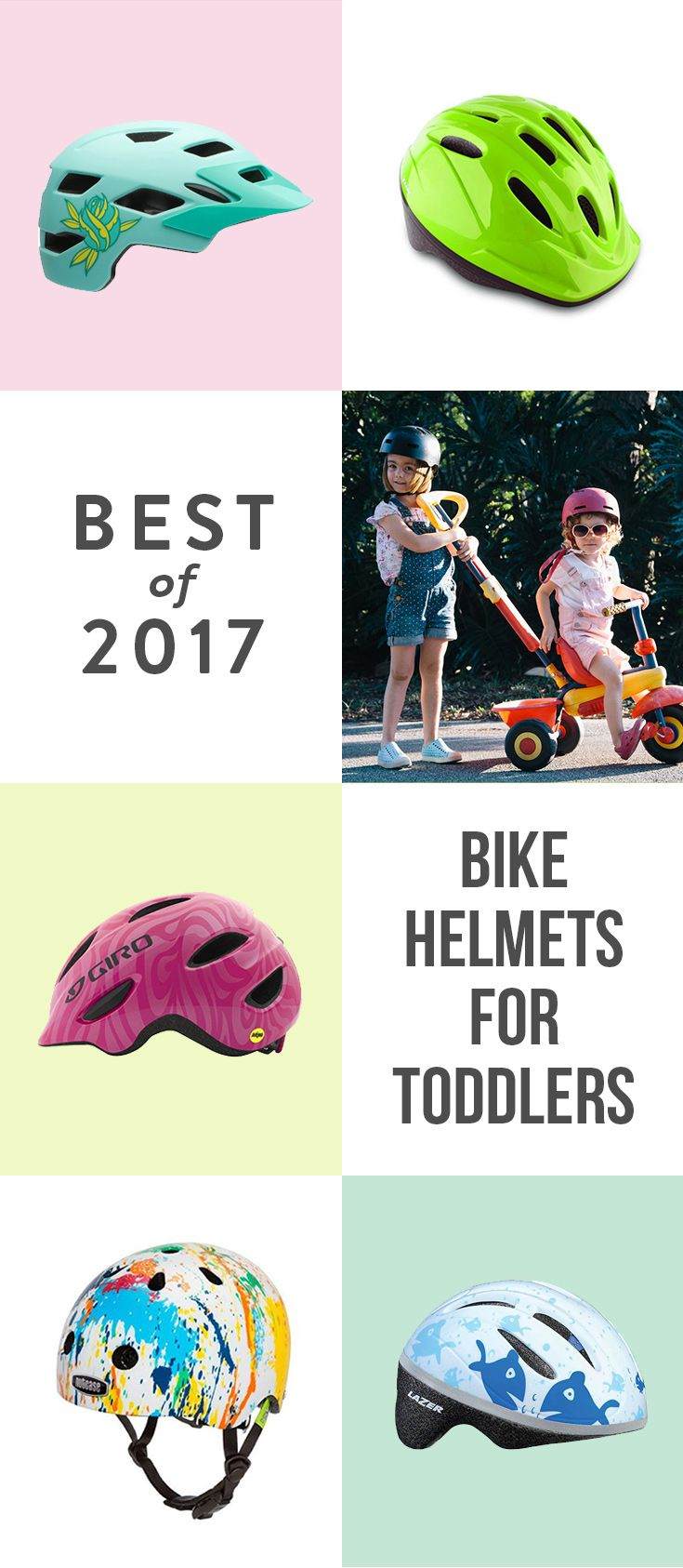 Whether hopping on a seat on your bike or on their own two wheels, these five bike helmets will keep your tot safe and cool this summer.