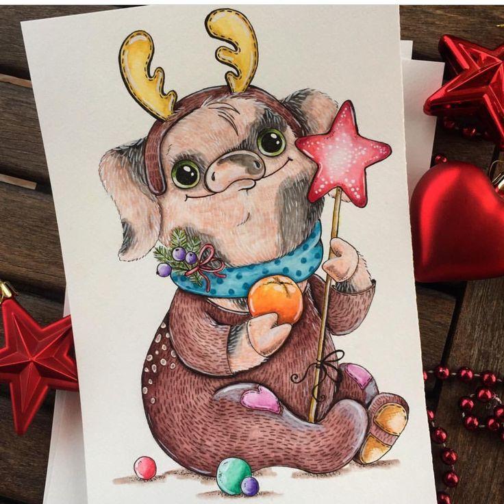 Рисуем открытку на новый год 2019