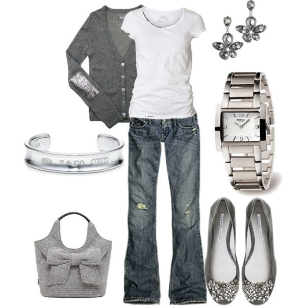 Gray and white: Shoes, Outfits, Elbow Patches, Color, Jeans, Grey, Casual Looks, Silver Gray, Bags