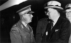 Frank Forde (right), Prime Minister of Australia from July 6th-13th 1939 (8 days, Australia's shortest-serving Prime Minister). Australia entered the war on September 3rd, 1939, shortly after Britain entered the war. http://en.wikipedia.org/wiki/James_Durrant