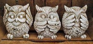 3 hiboux de la sagesse, reprise du thème asiatique des 3 singes de la sagesse. En vente sur esprit-british.com : http://www.esprit-british.com/categorie-produit/deco/objet-deco/