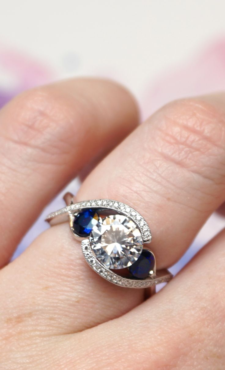 Custom Blue Sapphire And Diamond Engagement Ring  Joseph Jewelry   Bellevue  Seattle  Online