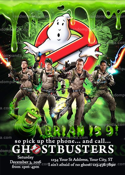 Ghostbusters Invitation, Boy Ghostbuster Party Invite