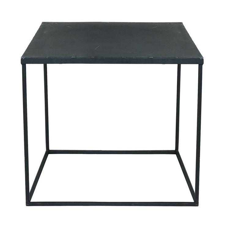Table basse indus en métal noire effet vieilli L 45 cm Edison
