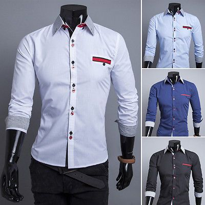 New Stylish Mens Slim Fit Shirts Luxury Long Sleeve Dress Shirts Tops 4 Colors