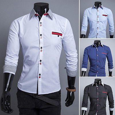 New Stylish Mens Slim Fit Shirts Luxury Long Sleeve Dress Shirts Tops 4 Colors