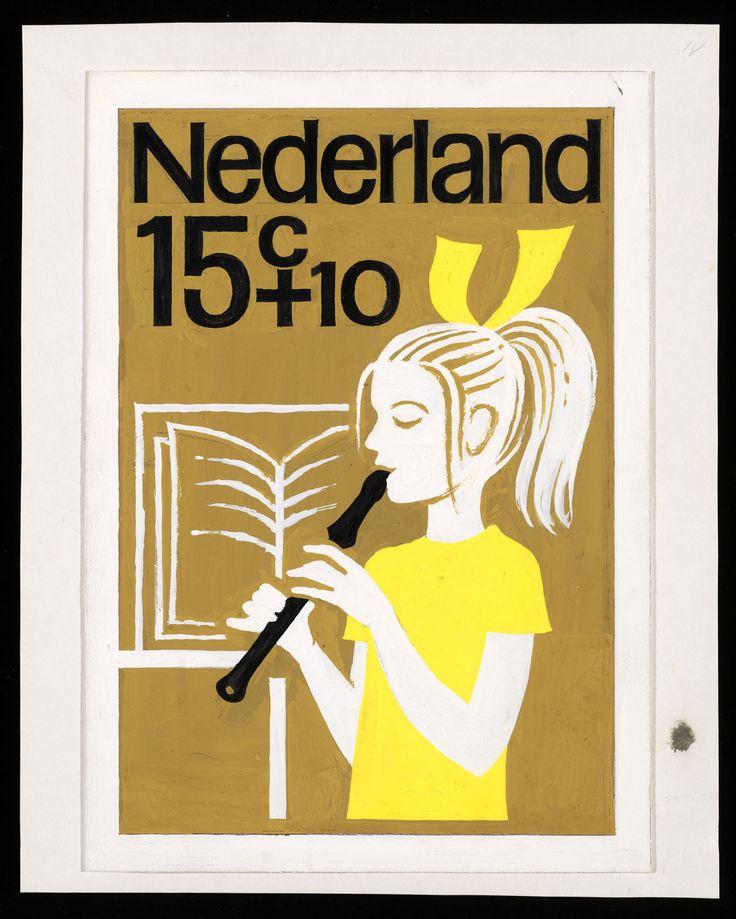 Ontwerp voor postzegels Nederland 1964 Kinderpostzegels, Fluitspelen