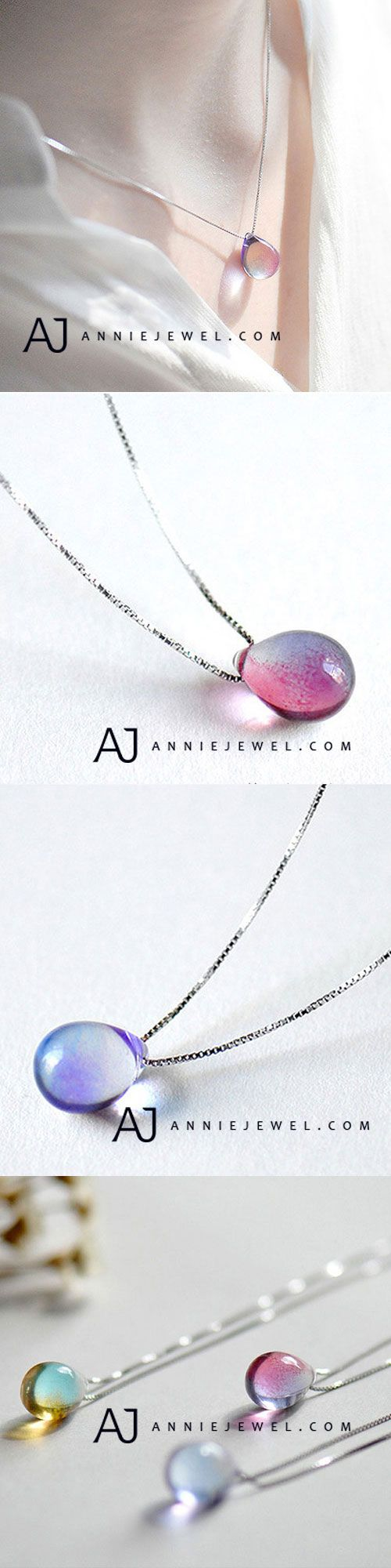 STERLING SILVER NECKLACE CRYSTAL OVAL WATER DROP CHARM PENDANT NECKLACE GIFT JEWELRY ACCESSORIES GIRLS WOMEN