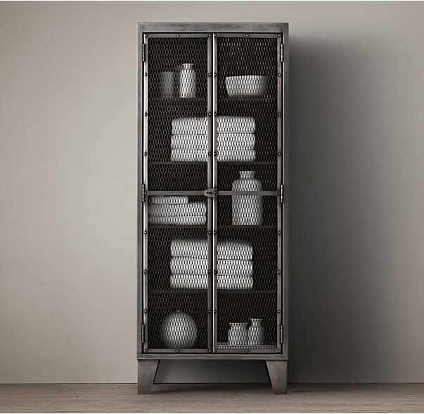 Circa 1900 French Linen Factory Tall Bath Cabinet