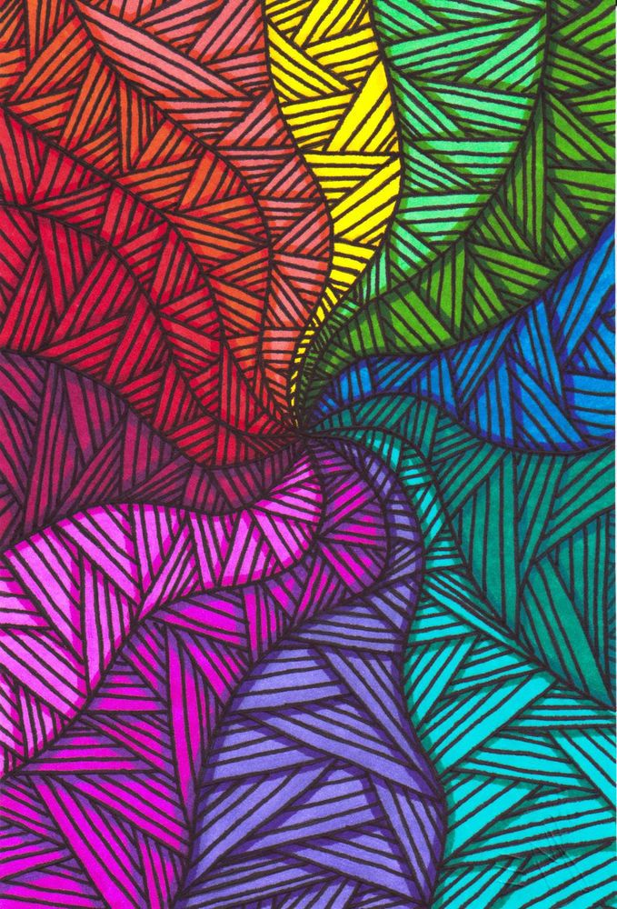 Original Color Swirl Zentangle Marker Drawing Signed by Artist Collectible Art #OutsiderArt