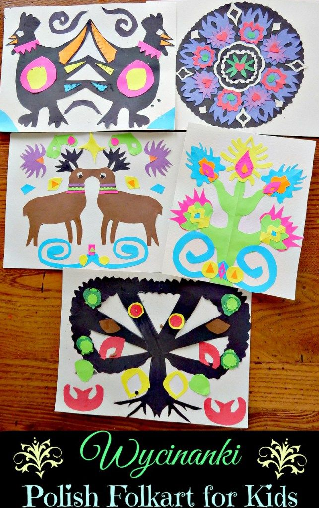 Wycinanki Polish Folkart for Kids- colorful paper-cutting project. Great multicultural craft!