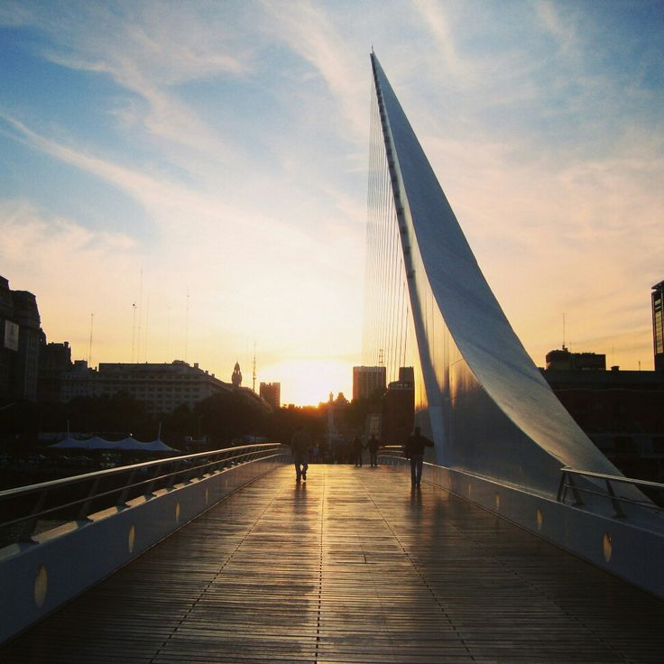 What a view! Sunset in Buenos Aires, Argentina, behind gorgeous Puente de la Mujer by Santiago Calatrava - Architecture & Design in South America