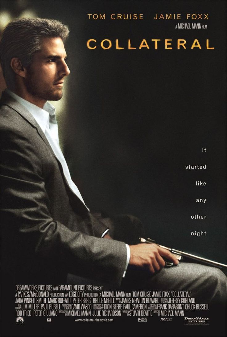 Collateral [] http://www.imdb.com/title/tt0369339/?ref_=nv_sr_1 [] theatrical trailer ▶ http://www.youtube.com/watch?v=Pwrq3O6XDPs [] boxoffice take http://www.boxofficemojo.com/movies/?id=collateral.htm [] directed by MichaelMann http://en.wikipedia.org/wiki/Michael_Mann_(director) []