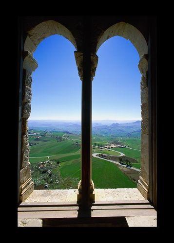 Castello di Mussomeli, Sicily. View from window.