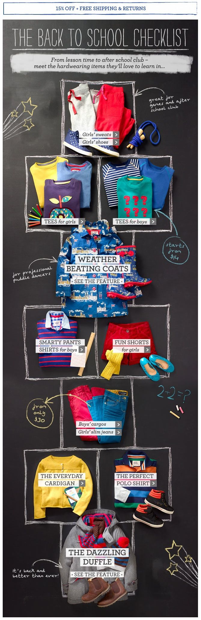 The chalk board concept of design has worked for this extremely vibrant and colorful #emaildesign for kids merchandise.