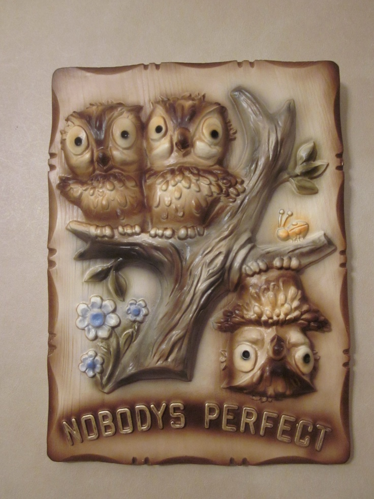 chalkware owl plaque - old house revival