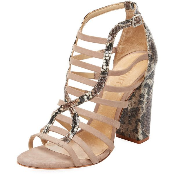 Schutz Women's Kaye Strappy Leather Sandal - Beige/Khaki - Size 10 ($139) ❤ liked on Polyvore featuring shoes, sandals, leather sandals, beige strappy sandals, ankle strap shoes, beige sandals and strappy high heel sandals