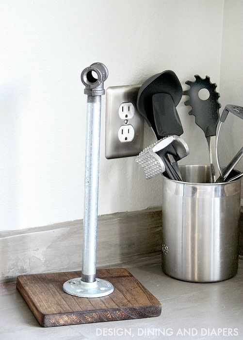 Industrial Paper Towel Holder made from scrap wood and plumbing pipes via @Taryn {Design, Dining + Diapers}