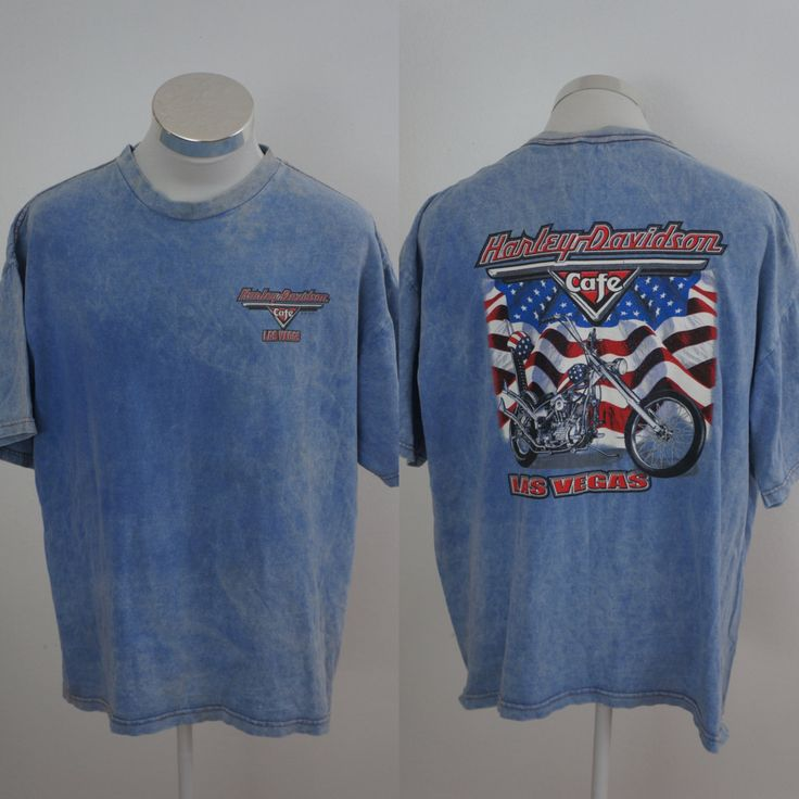 Harley Davidson Cafe Las Vegas Blue T-Shirt Motocycle Size XL by yotaeji on Etsy