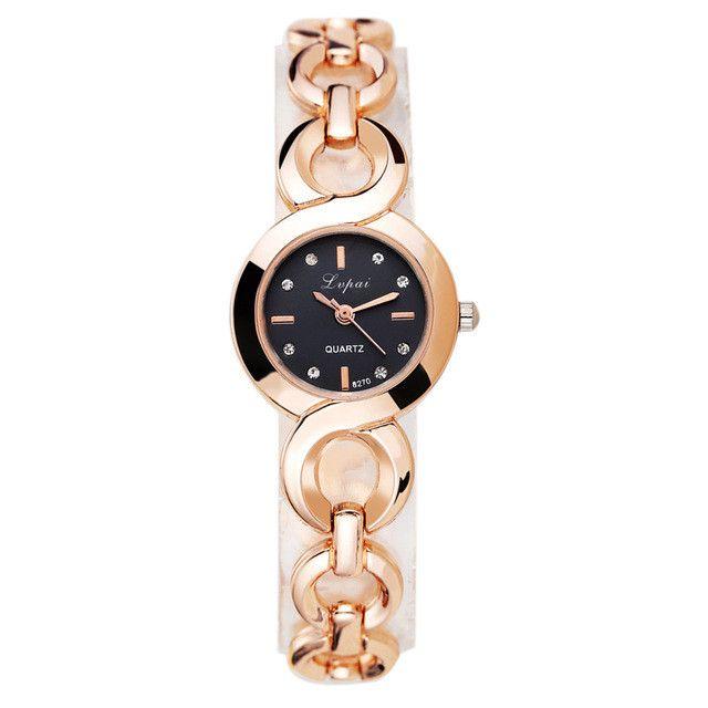 LVPAI Brand Luxury Gold Watches Women Stainless Steel Wristwatches Rhinestone Women Bracelet Watch Ladies Wrist Watch Female