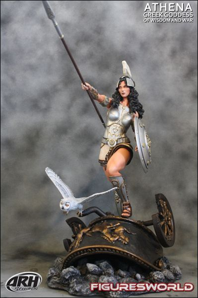 Athena was the goddess of wisdom and military. Athena's parents were Zeus and Metis. Athena's Weapons were 2 swords, a spear, and a shield. Athena is Her husband was Haphaestus. This is Athena.
