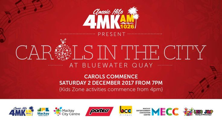 December 2, 2017! The Lets Jump Kids Zone (Bluewater Quay carpark) will be open from 4pm with mechanical rides and amusements. Carols performances onstage from 7pm. 4MK's Carols In The City features many talented community musicians and singers who will ring out festive cheer with popular carols and Christmas songs. Bring your own deck chair or picnic blanket and singing voice! Glo Sticks available for purchase on the night.