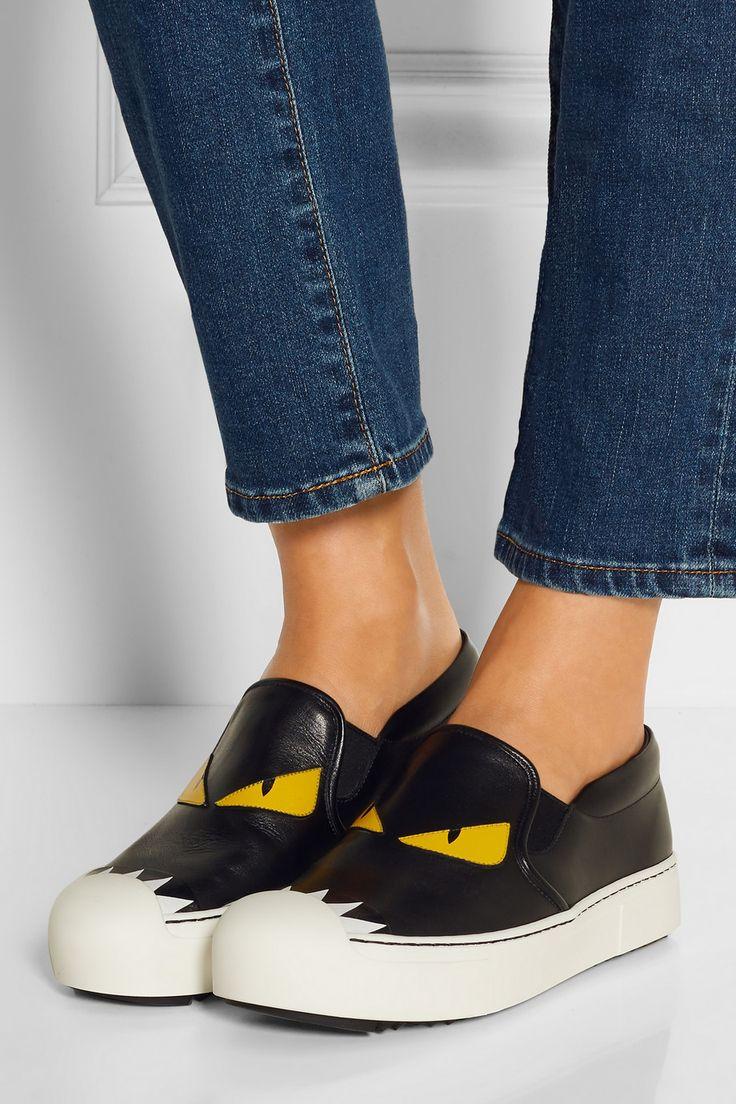 Fendi | Bag Bug leather slip-on sneakers | NET-A-PORTER.COM