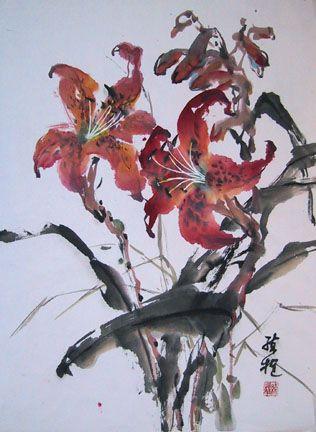 """Lian Zhen. Flowch.Tiger Lily (Spontaneous Style) 18""""x26"""""""