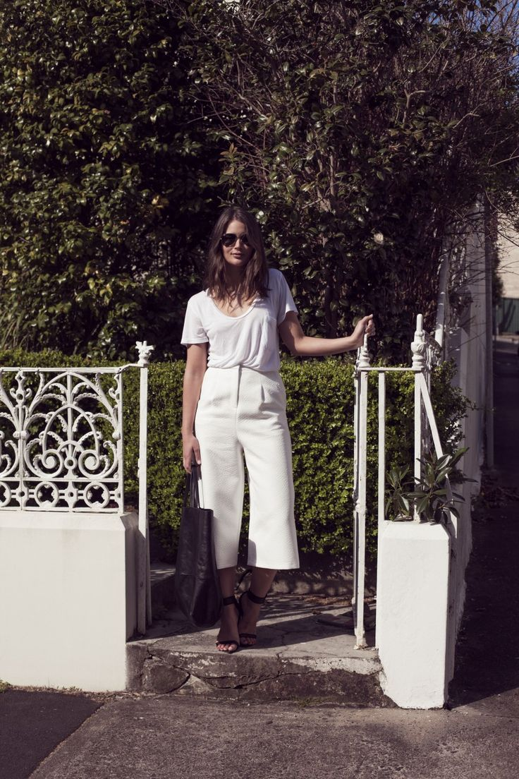 Topshop culottes, T-shirt (similar), Ray-Ban sunglasses, Swarovski necklace*, Givenchy bag and...