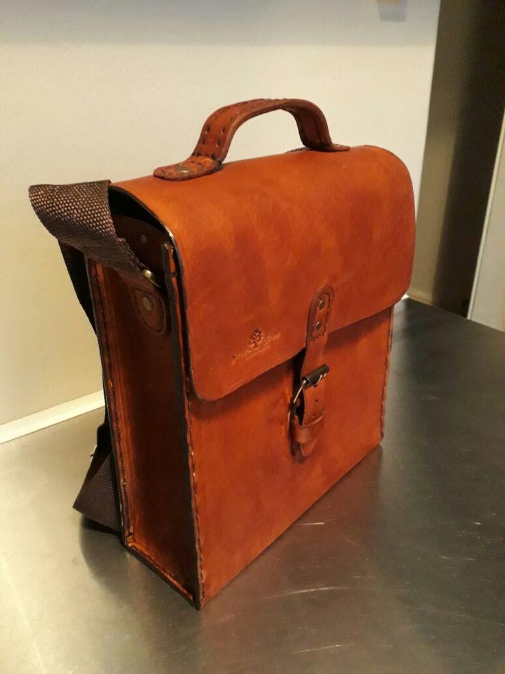 Hand sew leather messenger bag