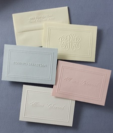 American Stationery  25 monogrammed notes with embossed envolopes (#3191 in blue)  $47.95