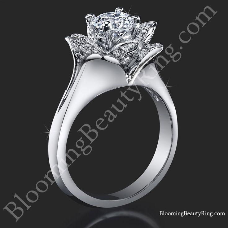 Lotus Ring 8 Petal .58 ct. Diamond Clean Split Shank Flower Ring bbr588-1   Unique Engagement Rings, Flower Rings, Vintage & Antique Engagement Rings